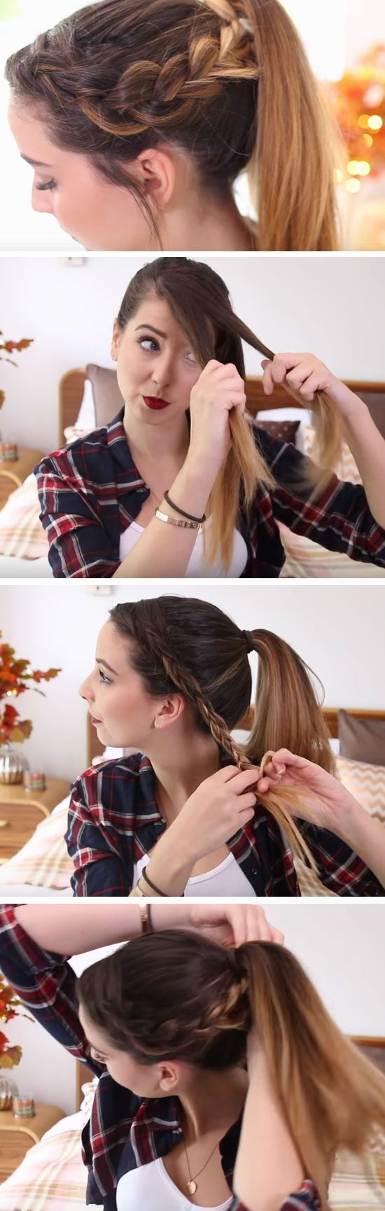 Dutch Braid into Pony | DIY Heatless Hairstyles for Long Hair that will take you from day to night