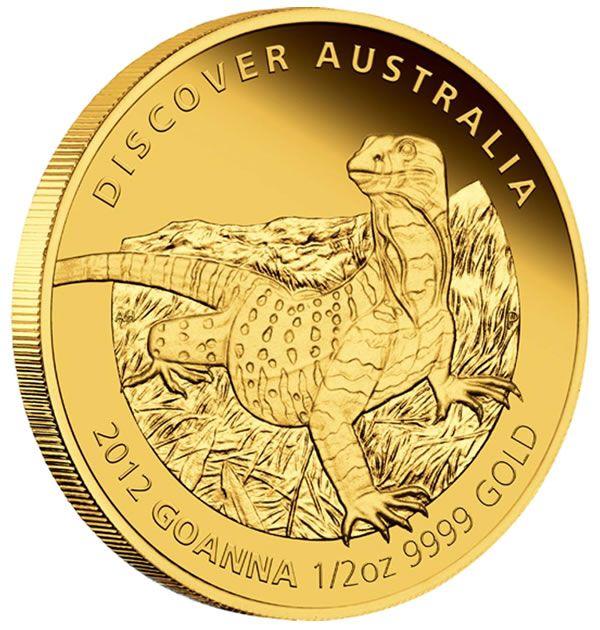 Australian gold proof Goanna coin from the year 2012