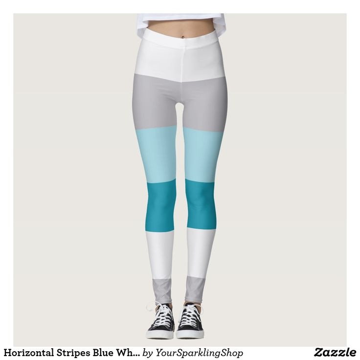 Horizontal Stripes Blue White Gray Striped Pattern Leggings