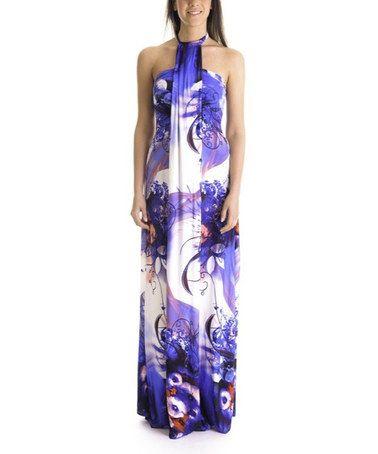 Look at this #zulilyfind! Purple & White Abstract Halter Maxi Dress by GoaGoa #zulilyfinds