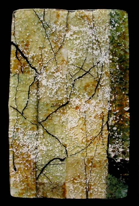 Roger Thomas Glass. Twig Calligraphy, Opus 455, 2009  Glass panel, 17 by 10.5 inches.  Frameless.