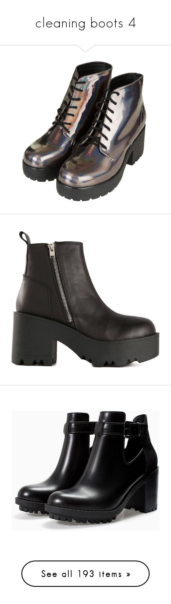 """""""cleaning boots 4"""" by alicemsrose ❤ liked on Polyvore featuring shoes, boots, botas, front lace up boots, laced up shoes, lace up shoes, laced shoes, lace front boots, black and real leather boots"""
