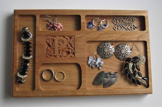 Personalized Jewellery Tray Cherry Jewelery Tray with Carved Initial Custom Small Jewellery Tray Organizer