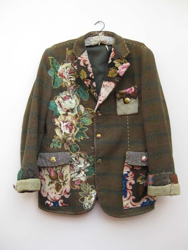 Old quilts made into garments, making old garments more precious, manipulation, embellishment, up-cycling.