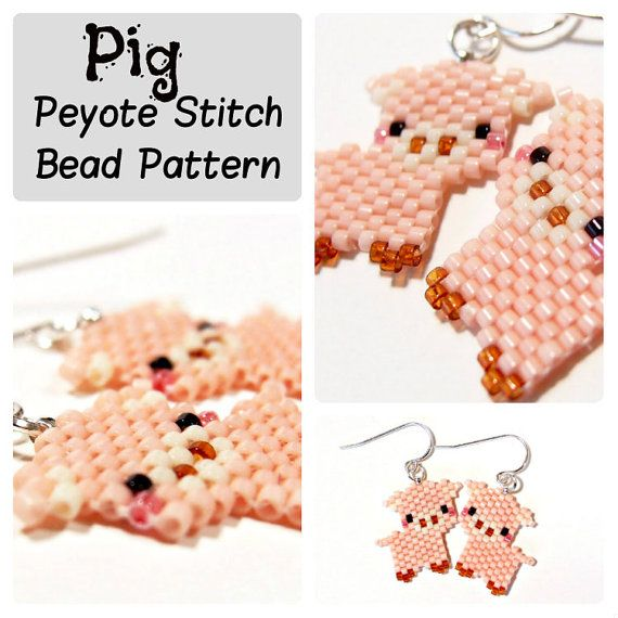 Pig  Seed Bead Patterns Peyote Stitch  DIY beaded by BeadCrumbs