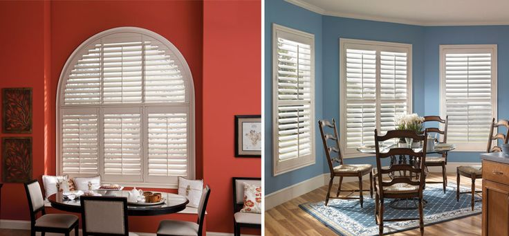 shutter - plantation shutter by Eclipse specialty shape Shutters half moon shutters white dining room shutters budget