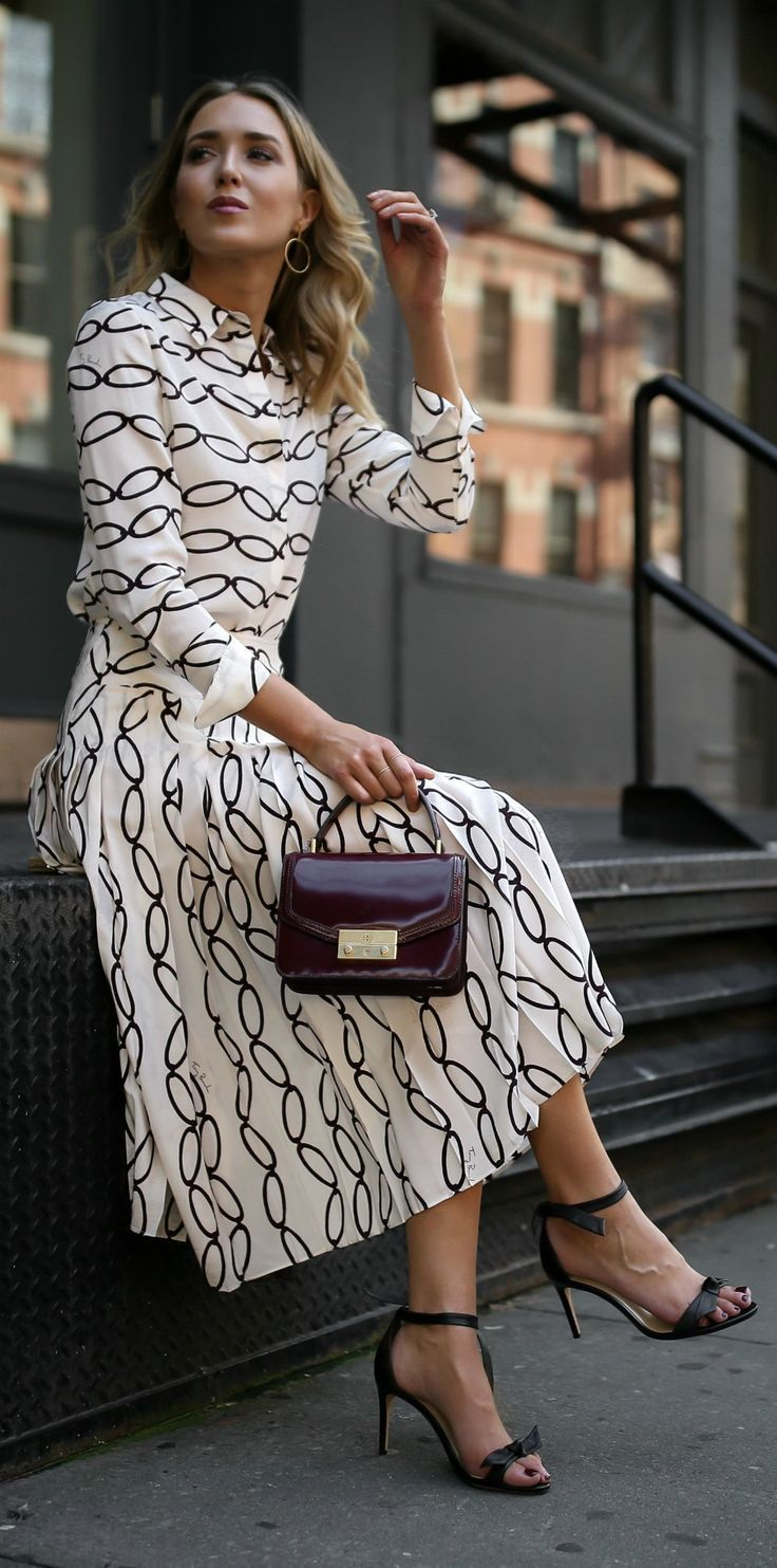 Click for outfit details! Patterned blouse, pleated midi skirt, black  ankle strap sandals, burgundy handbag,  {Tory Burch, Alexandre Birman, workwear, wear to work style, creative office style}