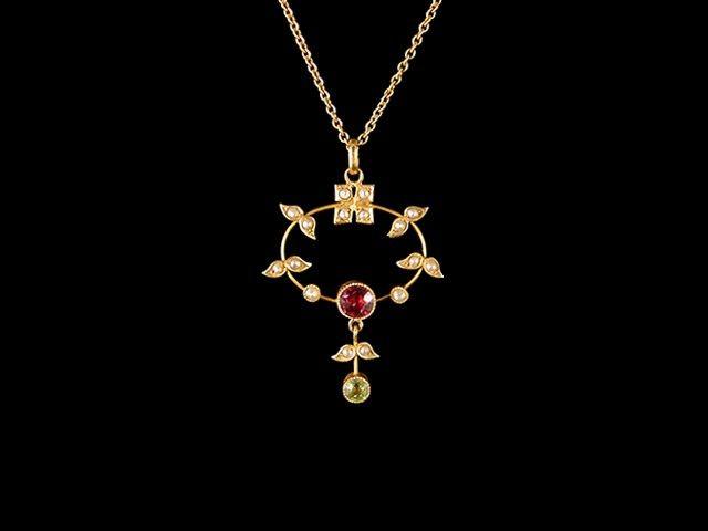 Antique 9ct Gold Ruby & Peridot Lavalier Pendant