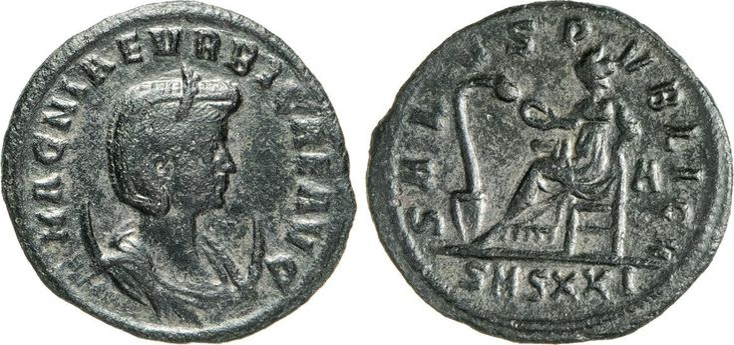 NumisBids: Numismatica Varesi s.a.s. Auction 65, Lot 268 : MAGNA URBICA (moglie di Carino) Antoniniano, Siscia. D/ Busto...