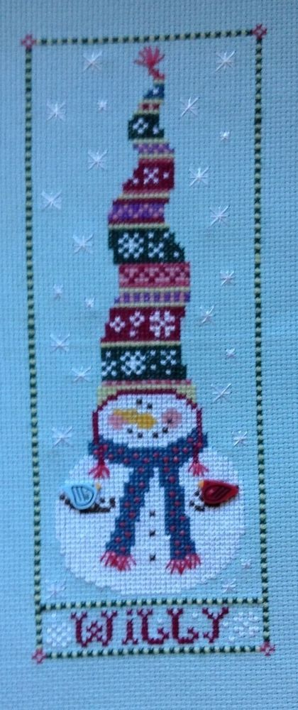 completed cross stitch Christmas Snowman WILLY