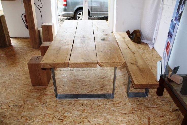 eiche astig massivholz esstisch mit stahlgestell von c oldenburg m bel auf wohnung. Black Bedroom Furniture Sets. Home Design Ideas