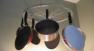 Colgante para cocina o terraza, con rueda de bicicleta