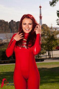 Lara Larsen red latex catsuit