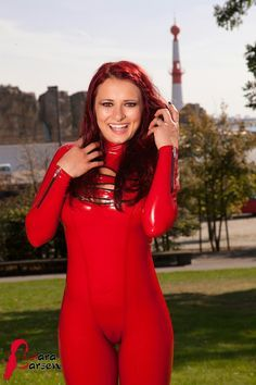 Lara Larsen red latex catsuit