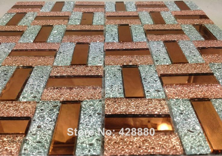 Glass Mosaic Tile Backsplash Purple and Gold Mix Mirror Wall Tiles Kitchen Design Crystal Bathroom Floor Tile Decoration 21-9