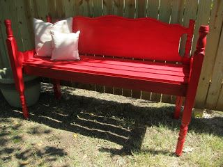 Hello Clean Garage!  Cut the footboard in 1/2 and use as the sides.  Build a frame for the seat with 1x4's and attach...