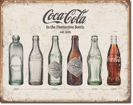 Vintage Glass Coca Cola Coke Bottle Collection Evolution Picture Metal Ad Sign | eBay