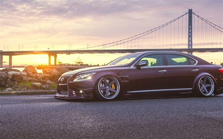 Download wallpapers Lexus LS, 2017 cars, low rider, tuning, luxury cars, sunset, Lexus