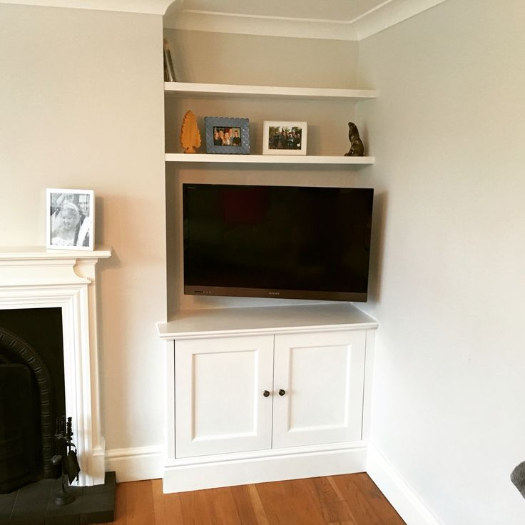Alcove shelving, with floating shelving. Mouldings to match existing skirting & fireplace