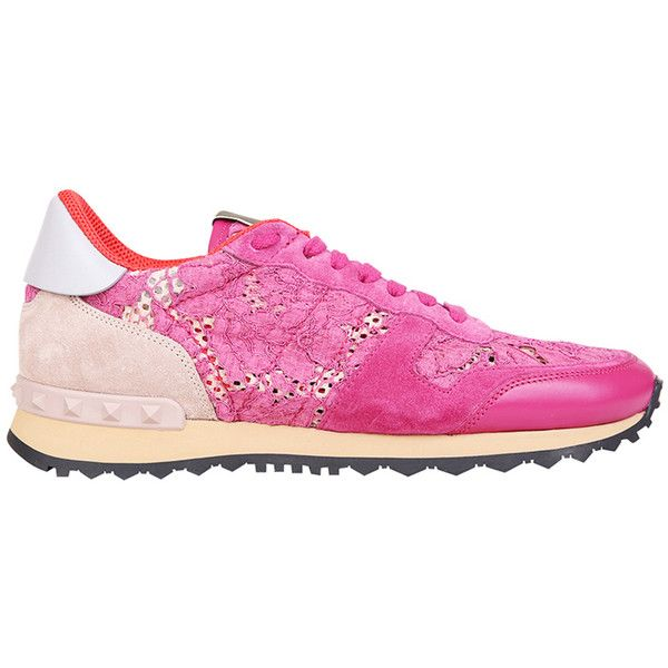 Valentino Garavani Lace Rockrunner sneakers (45.180 RUB) ❤ liked on Polyvore featuring shoes, sneakers, fucsia, rubber sole shoes, lace sneakers, valentino sneakers, lacy shoes and valentino trainers