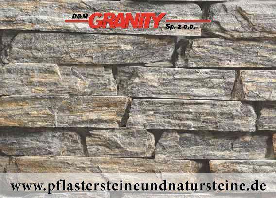 Gneis – (kleine Mosaikplatten – zweiseitig gesägt, Stärke – ca. 50 mm, Dicke - ca. 8-15 mm, Länge – min. 100 mm)