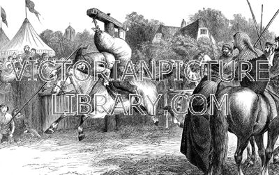 Medieval Quintain. Victorian picture showing a crowd watching a medieval quintain. The contestant has missed the target and is about to be knocked off his horse. Download high quality jpeg for just £5. Perfect for framing, logos, letterheads, and greetings cards.