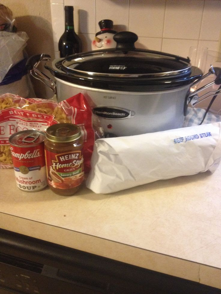 crockpot beef and noodles 1 round steak 1 can cream of