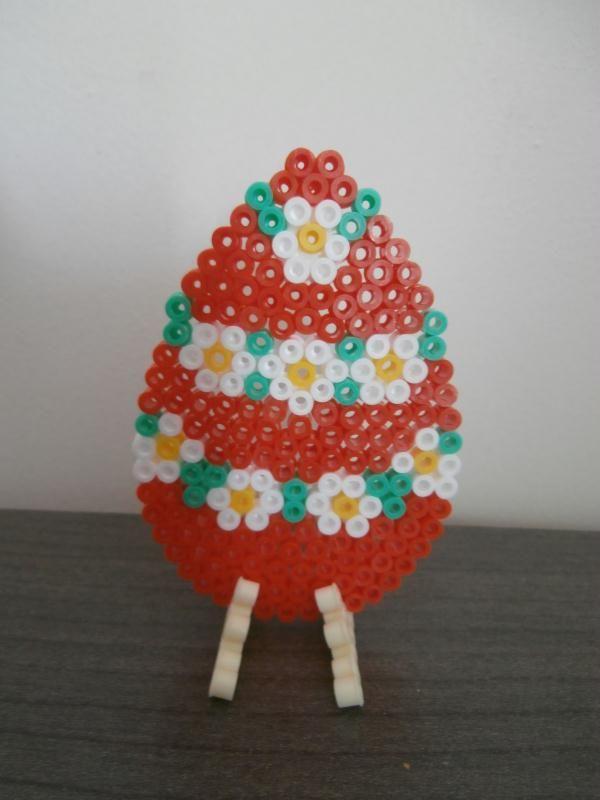Création Grand Oeuf De Pâques Fleur Perles Hama Création Perles à