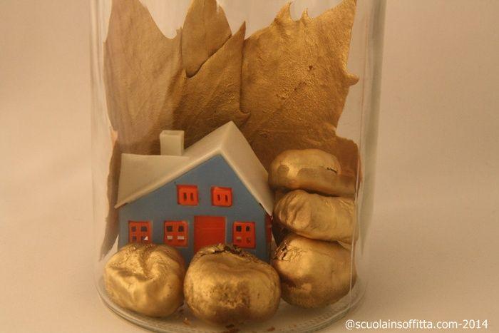 Avete mai provato a dorare oggetti naturali? Noi ne abbiamo fatto un centrotavola di Natale. Assomiglia all'illustrazione di un libro per bambini?