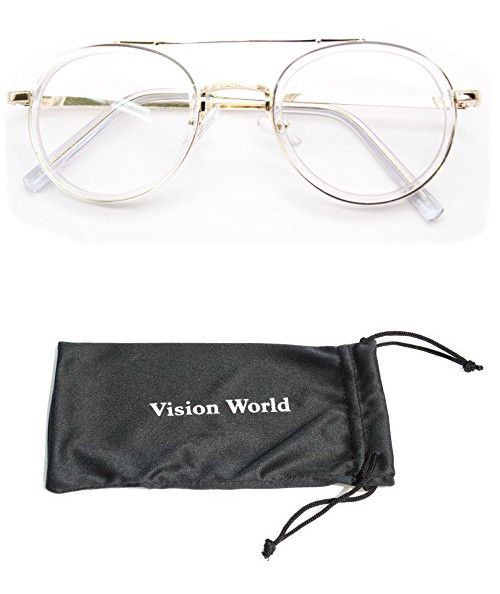 3d167d1419 V.W.E. Vintage Inspired Metal Bridge and Temple - Clip-On Look Clear Lens  Glasses (Clear Gold