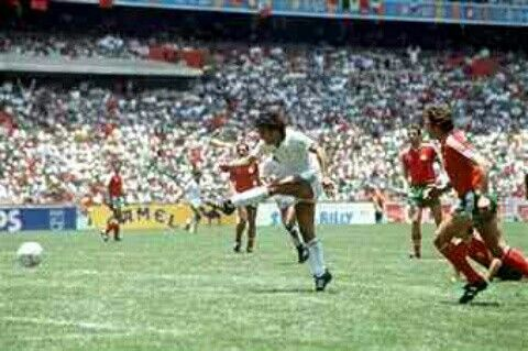 Mexico 2 Bulgaria 0 in 1986 in Mexico City. Hugh Sanchez fires in a shot that was saved in Round 2 at World Cup.