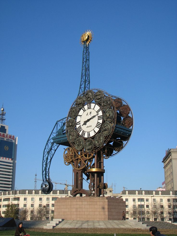 Steampunk Clockwork at Tianjin Railway Station, Tianjin, China