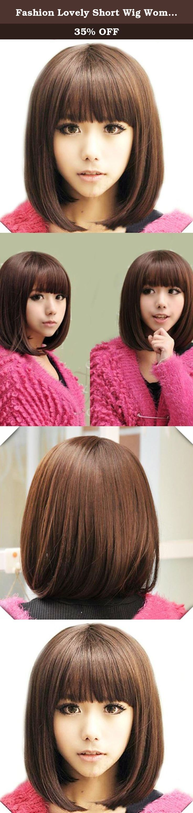 Fashion Lovely Short Wig Women Fringe Straight Full Bobo Hair Heat ResistantLight Brown. 100% brand new and high quality. Specification: Material: 100...