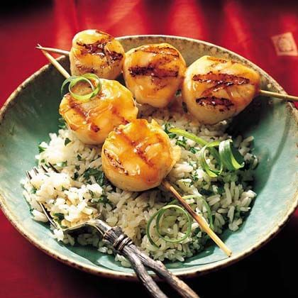 Marinate scallops for about 30 minutes in a mixture of rice wine and fresh ginger then baste them in a sweet soy sauce mixture for an...