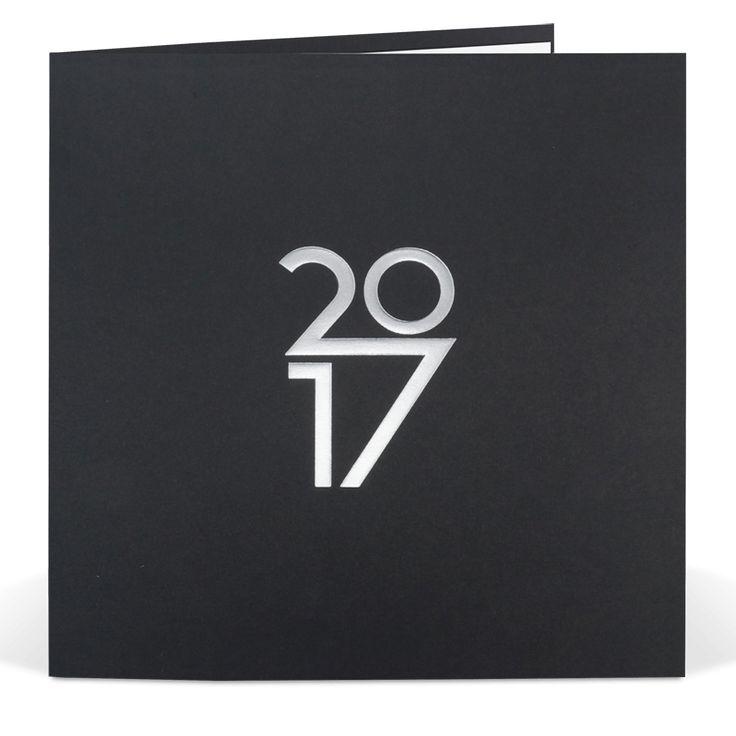 Moderne Neujahrskarte in schlichter Eleganz mit edler Silberfolienprägung und Einlegeblatt.