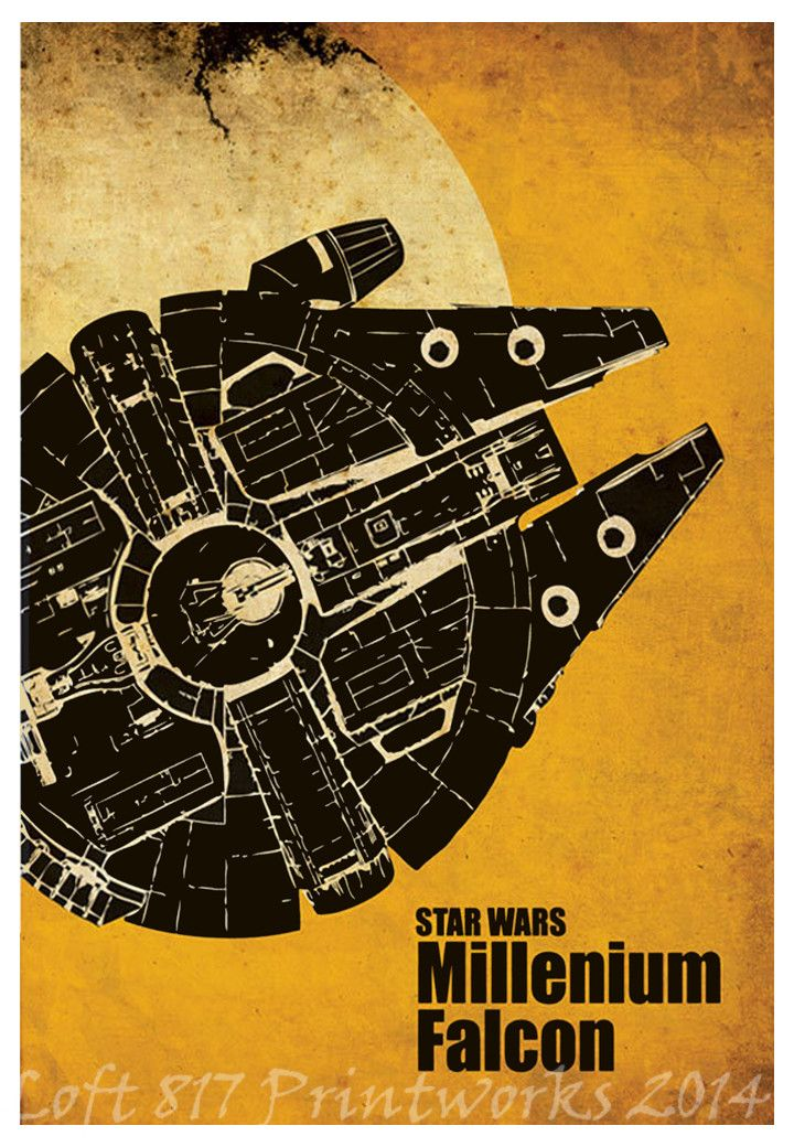 Star Wars poster, AT AT, X Wing, Millennium falcon, Star Wars minimalistic art prints