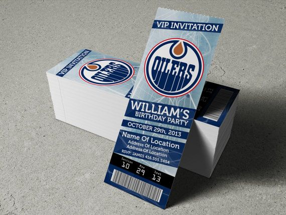 Hockey Wedding Invitations: Edmonton Oilers Birthday Party/Event Ticket By