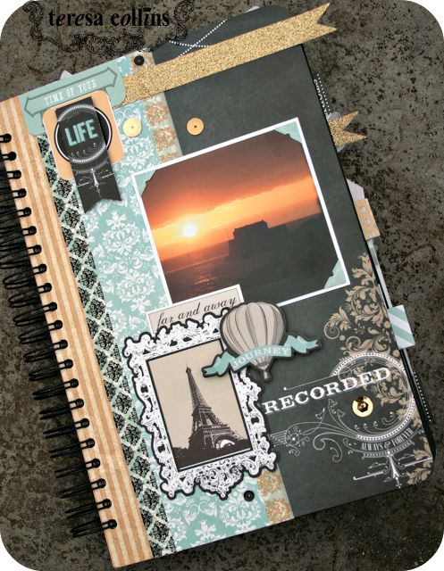 "12"" x 8"" scrapbook travel album using the Teresa Collins Memorabilia collection."
