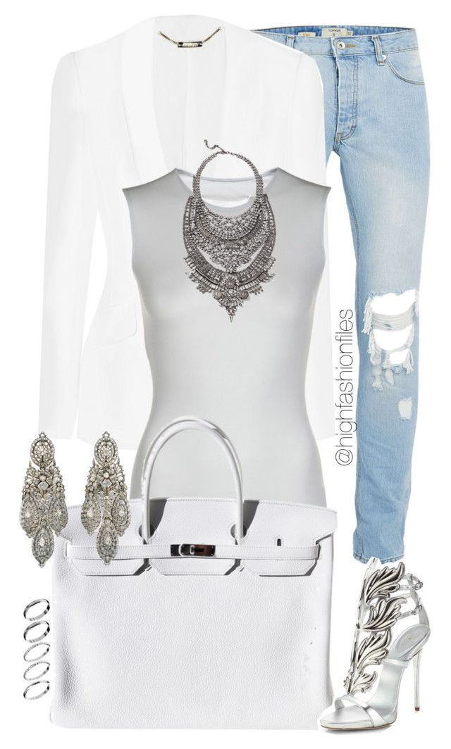 """White"" by highfashionfiles ❤ liked on Polyvore featuring Topman, Alexander McQueen, Maison Margiela, Oscar de la Renta, Hermès, DYLANLEX, ASOS, Giuseppe Zanotti, women's clothing and women"