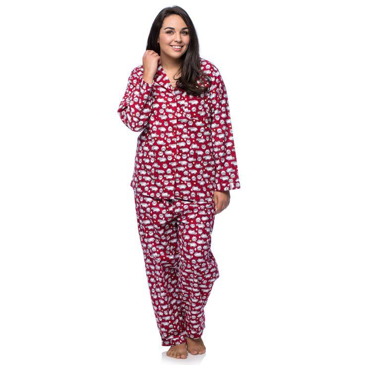 La Cera Women's Plus Size Cotton Sheep Print Flannel ...