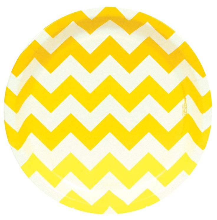 Chevron Yellow Dinner Plates from BirthdayExpress.com