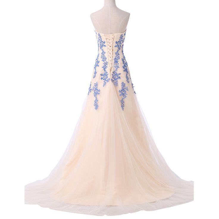 Blue Long Mermaid Evening Dress  Lace Appliques Prom Dresses | weddress