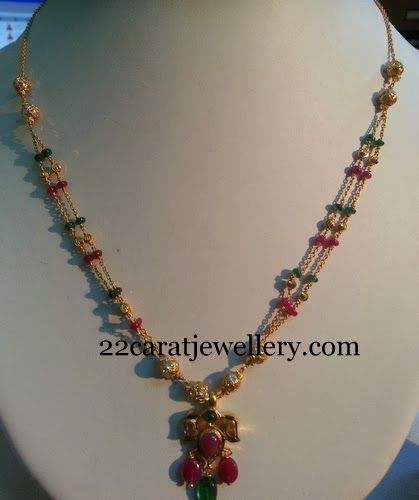 Jewellery Designs: Delicate Beads Set with Locket