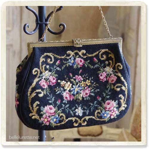 ビンテージ ニードルポイントバッグ - 【Belle Lurette】ヨーロッパ フランス アンティークレース リネン服の通販