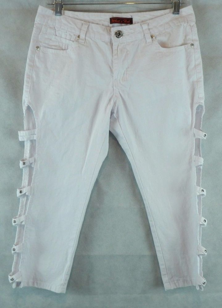 Whats Hot White Capris Cropped Pants With Side Cut Outs Size 10 #WhatsHot #CaprisCropped