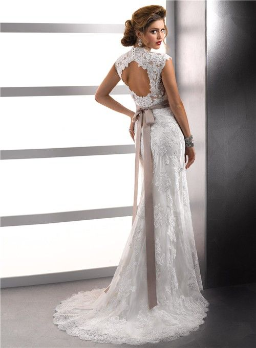 Open back lace wedding dresses david 39 s bridal cap for Lace cap sleeve keyhole back wedding dress