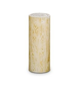 wood grain pillar candle with a hand rubbed gold tone finish. Emits the woodsy scent of rich amber and warm vanilla, mingled with sandalwood, patchouli and cedarwood. Burn time: 130-140 hours. $6 clearance while supplies last