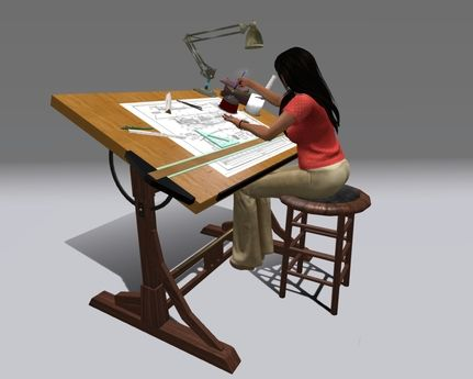 "Full_top_001 Top_001_001 Bottom_001 Drawing_001. Couples Animated Drafting  Table ""Craftsman"" Reproduction"