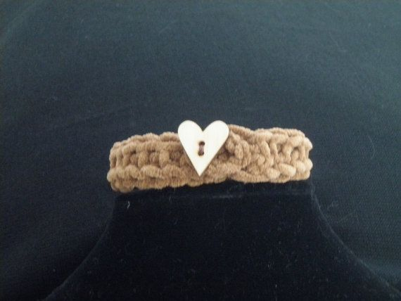 Hand knit soft suede like collar for your pampered pet! Thank your pet for their love with this heart adorned collar. Comes with an adorable