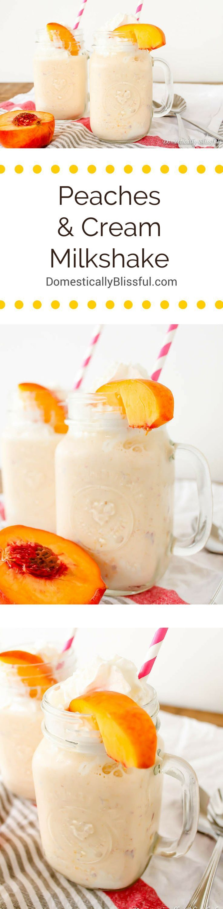 This Peaches and Cream Milkshake is perfectly creamy & sweetened with the tastiest of fresh peach flavor!